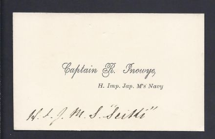 "Captain Inowye Imperial Japanese Navy Calling Card 1878 ""Seiki"""